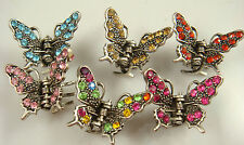 2ps butterfly Hair claw Crystal alloy Rhinestone  Clip Jaw Hairpin Fashion l8py