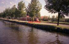 PHOTO  NETHERLANDS OUDEWATER 1989 CANAL TRAM ALONGSIDE CANAL