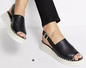 Asos Womens Sz 9 Qupid Espadrille Flatform Sandals Shoes Black NO BOX Wedges