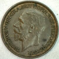 1927 Great Britain Bronze Half Penny Coin 1/2 Cent UK KM #824  XF Extra Fine
