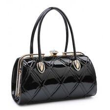 Las Designer Faux Leather Patent Handbag Diamante Clasp Shoulder Grab Bag Uk