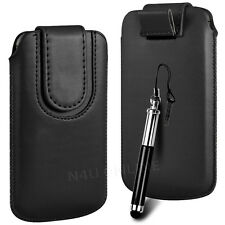 Magnetic PU Leather Pull Tab Flip Case & Stylus For Blackberry Phones