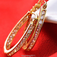 New Women's 9K Gold Filled Silver Crystal Big Hoop Huggie Party Earrings Jewelry
