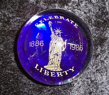 Vintage Murano Celebrate Liberty 1886-1986 Cobalt Blue & Clear Glass Paperweight