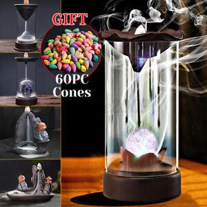 Buddha Ceramic Smoke Backflow Censer Cone Incense Burner Holder Sandalwood