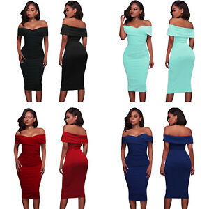 Fold Over Wrap Low Shoulder Style Sexy Figure Hugging Bodycon Midi Summer Dress
