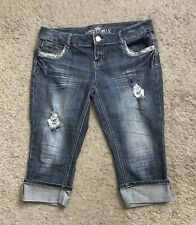 Almost Famous Womens Size 13 Low Rise Cropped Ripped Cuffed Sequined Blue Jeans
