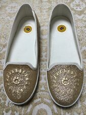 New Jack Rogers Women's Mila Gold Glitter Loafers Moccasins Flats Size 8