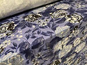 Viscose Elastane Stretch Jersey Fabric, Per Metre- Powder Blue Rose Print
