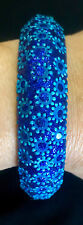 Sprakly Blue Floral Costume Fashion Jewelry Bangle Bracelet sz S