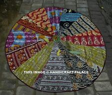 "Vintage 72"" Round Kantha Patchwork Quilt Indian Beach Throw Yoga Mat Tapestry"
