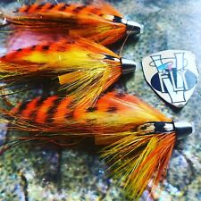 3 V Fly 3/4 Inch Orange Tiger Flamethrower Conehead Salmon Tube Flies & Hooks