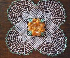 """New listing Lovely Vintage Crocheted Doily Rosette Center Motif 11.25"""" #740"""