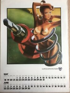 1981 - RARE & COLLECTABLE - Lancia Parts Calendar Illustrated by Philip Castle