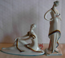 PAIR OF ART DECO PORCELAIN FIGURINES BY SITZENDORF GERMANY