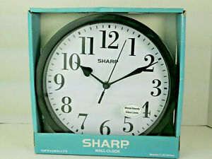 Sharp Wall Clock Metal Hands Glass Lens  Black Model SPC1124A