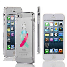 For Apple iPhone Slim Clear TPU Hard Case Cover Thyroid Cancer Awareness Ribbon