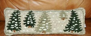 Chandler Four Corners Wool Frosted Trees Christmas Lumbar Pillow by Laura Megroz