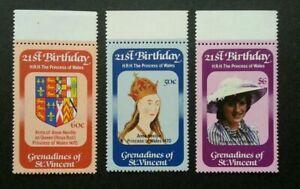 [SJ] St. Vincent 21st Birthday Of HRH The Princess  Wales Diana 1981 (stamp) MNH