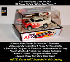 """Custom Display Case : AFX  '55 Chevy Bel Air """"White Red Flames"""""""