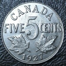 OLD CANADIAN COIN 1927 - 5 CENTS - NICKEL - George V - Nice DETAILS