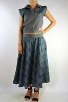 Vintage Blue Plaid Co-ord Boxy Top and Skirt Size M (10-12)