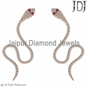 Natural Pave White Diamond Ruby 14k Rose Gold Snake Ear Cuff Earrings Jewelry