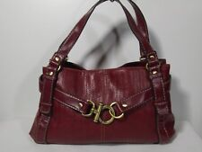 Relic Faux Leather Burgundy Sachel Purse Bag Bronze Hardware Crossbody Pre-owned