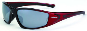 Crossfire RPG Safety Glasses with Black-Red Frame and Silver Mirror Lens