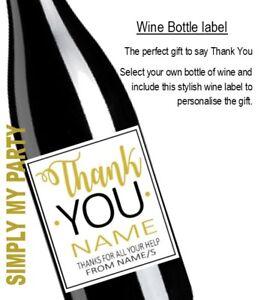 WINE BOTTLE LABEL - THANK YOU - Teacher Coach Friend Thank you Gift