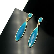 Rings`Ears Drop Blue Oval Classic Retro Evening Marriage Gift EE 6