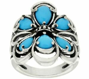 QVC Carolyn Pollack Sterling Sleeping Beauty Turquoise Cluster Ring 6 $299