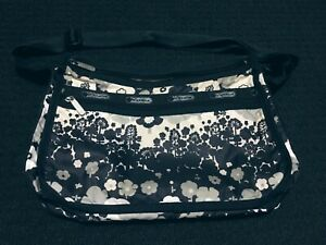 Le Sportsac Deluxe Black Floral Bag with Matching Pouch