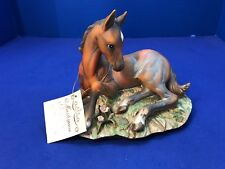 Homco Masterpiece Porcelain Animal Figurine Pony Colt Horse w Hang Tag Laying