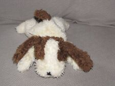 RUSS DOOBY DOG STUFFED PLUSH CREAM BROWN BEAN BAG PLAID BOW RIBBON 8""