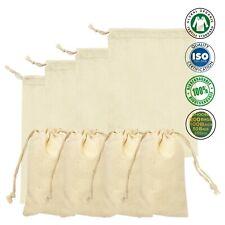 100% Cotton Double Drawstring Bags, Reusable Produce Bags - Pouches – lot