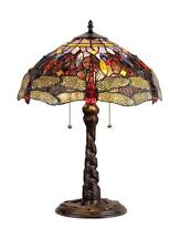 "Stained Glass Chloe Lighting Dragonfly 2 Light Table Lamp 16"" Shade Handcrafted"