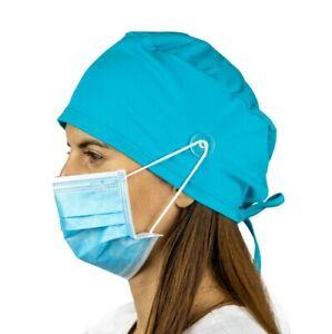 Teal Surgical Cap Women with Buttons I Nurse Cap I Scrub Cap