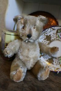 Vintage Chiltern Blonde Mohair Jointed Teddy Bear British 1950s Dog Nose