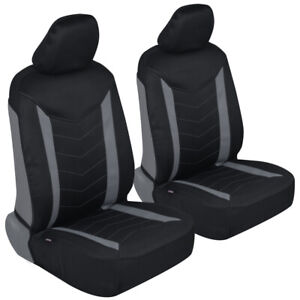 Waterproof Neoprene Two-Tone Sideless Front Seat Cover Set Headrest Covers- Gray