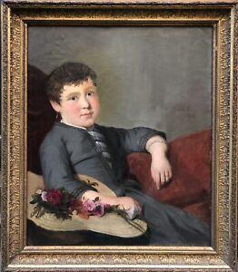 Huile s/ Toile Portrait Enfant Fille Fleurs Peinture Signature à Identifier XIXè