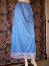 Vintage Beehive Blue Silky Nylon Tricot Lacy Maxi Formal Half Slip Lingerie S