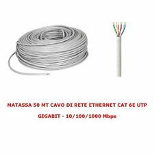 CAVO RETE LAN ETHERNET 50M 50 METRI CAT 6E RJ45 GRIGIO ROUTER ADSL MATASSA UTP