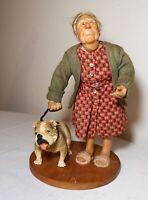 quality handmade polymer OOAK elder old lady walking bull dog statue sculpture