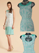 MONSOON Green White San Jose 50s Style Summer Keyhole Back Midi Dress UK 10 £89