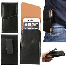 For Samsung iPhone LG Sony Belt Clip Holster Case Sleeve Cover Glossy Leather