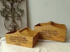 D3 2 X Wooden Box Albert Cox - Shrimp Merchant Box Vintage