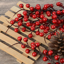 10x Party Home Red Berry Holly Leaves Branch Artificial Flower Pick Decoration