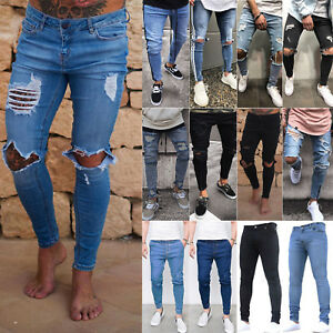 Men Ripped Skinny Jeans Stretch Distressed Frayed Causal Denim Pants Trousers