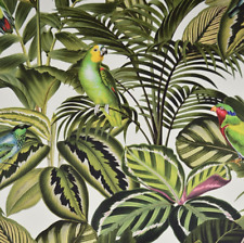 Tropical Leaf Parrot Jungle Wallpaper - 10m Roll - Green, Pink, Blue & Red